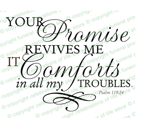 Your Promise Revives Me Funeral Bible Verses Word Art