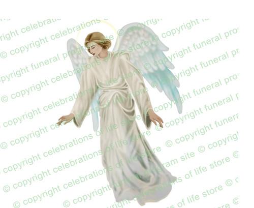 Devout Angel Funeral Clipart light skin