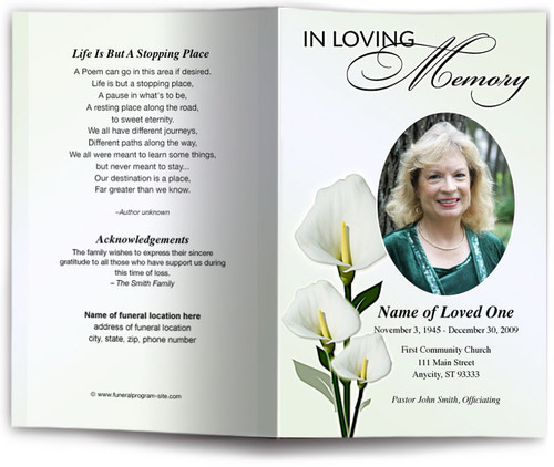 calle funeral program template