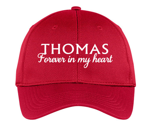 Forever In My Heart Embroidered Memorial Baseball Caps red