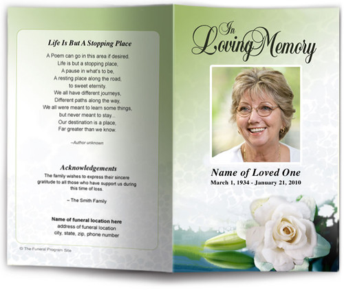 divine light green funeral program