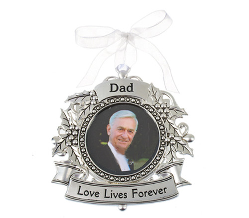 Dad Silver Memorial In Loving Memory Christmas Ornament