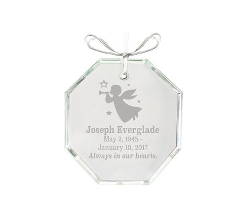 Hexagon Bevel Edge Crystal Memorial Christmas Ornament