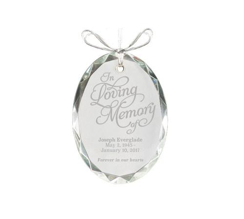 Oval Bevel Edge Crystal Christmas Ornaments