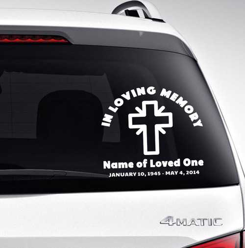 Cross In Memory Car Decals back view
