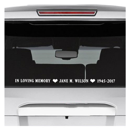 Horizontal In Memory Car Decals back view