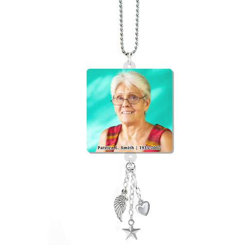 Round Corners In Loving Memory Memorial Car Charms