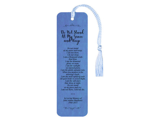 Do Not Stand At My Grave And Weep Leatherette Memorial Scripture Bookmark