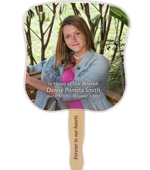 All Custom Photo Cardstock Memorial Church Fans With Handle front with handle imprinting