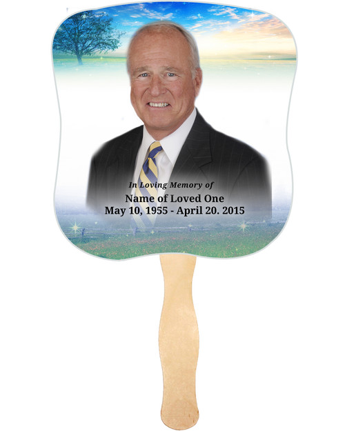 Destiny Cardstock Memorial Church Fans With Wooden Handle front photo