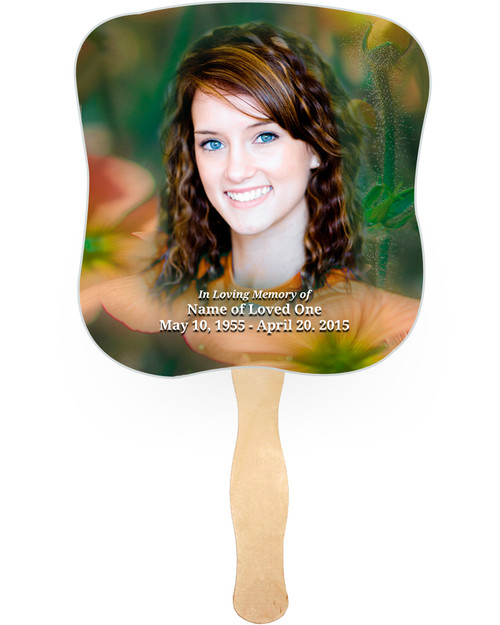 Floral Cardstock Memorial Church Fans With Wooden Handle front photo