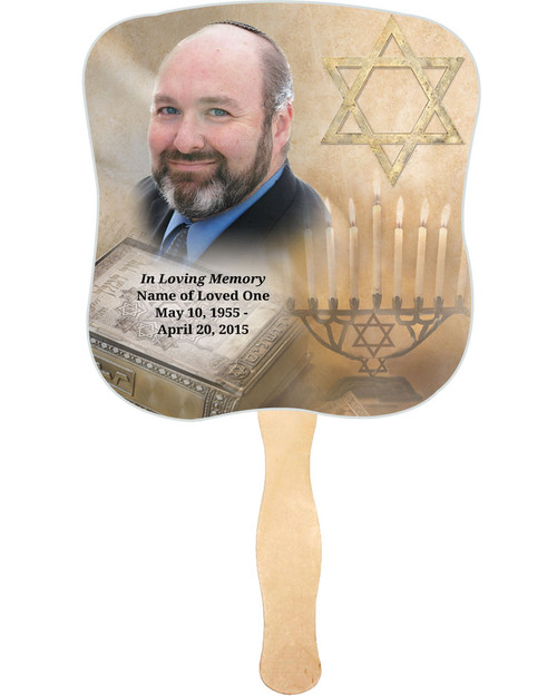 Jewish Cardstock Memorial Church Fans With Wooden Handle with photo
