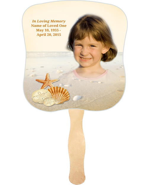 Seashore Cardstock Memorial Church Fans With Wooden Handle front photo