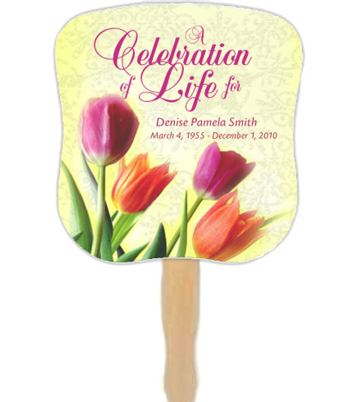 Sunny Cardstock Memorial Church Fans With Wooden Handle front