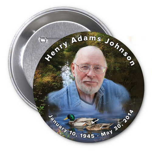Duck Pond In Loving Memory Memorial Button Pins
