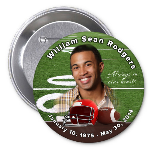 Football In Loving Memory Memorial Button Pins