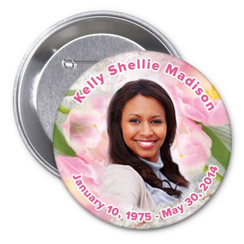 Pearls In Loving Memory Memorial Button Pins