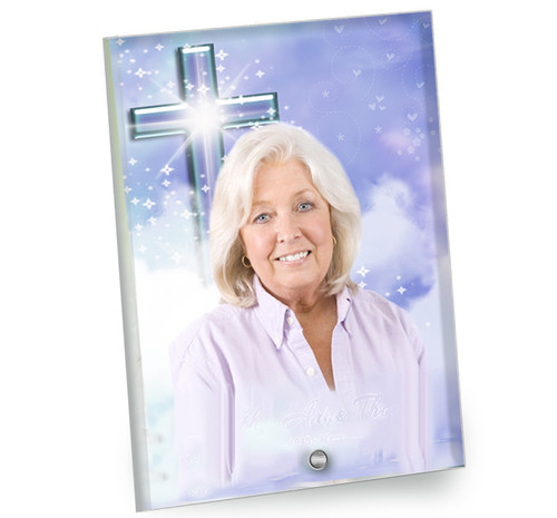 Adoration In Loving Memory Beveled Glass Memorial Portrait