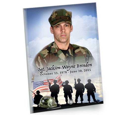 Army In Loving Memory Beveled Glass Memorial Portrait