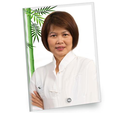 Bamboo In Loving Memory Beveled Glass Memorial Portrait