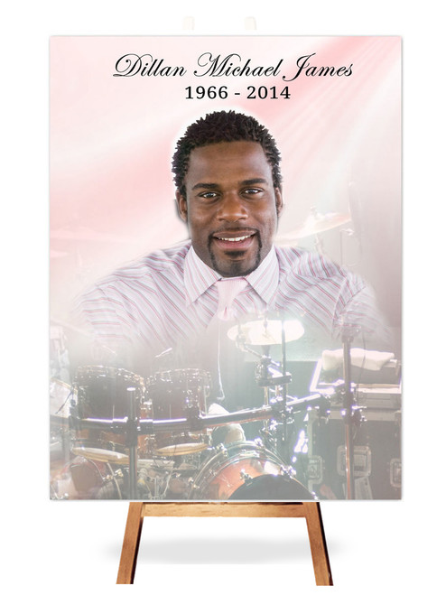 Drums In Loving Memory Memorial Portrait Poster on easel
