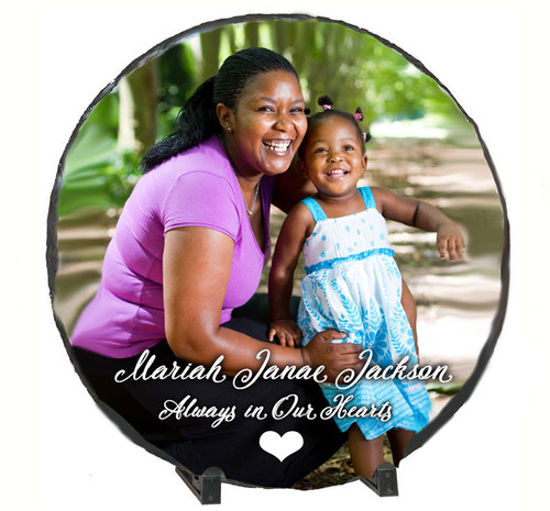 Large Round Slate Stone Memorial Plaques with Stand