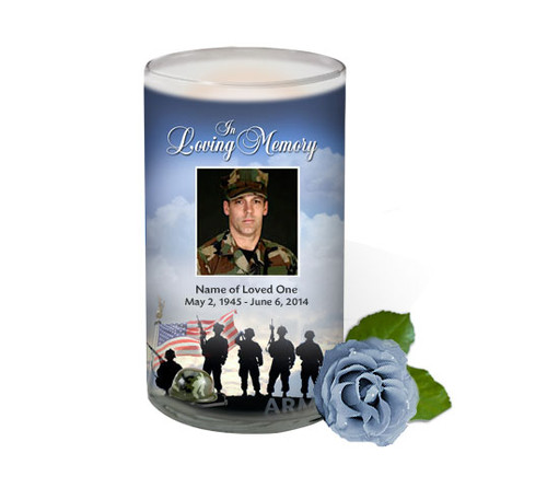 Army Memorial Glass Candle 3x6