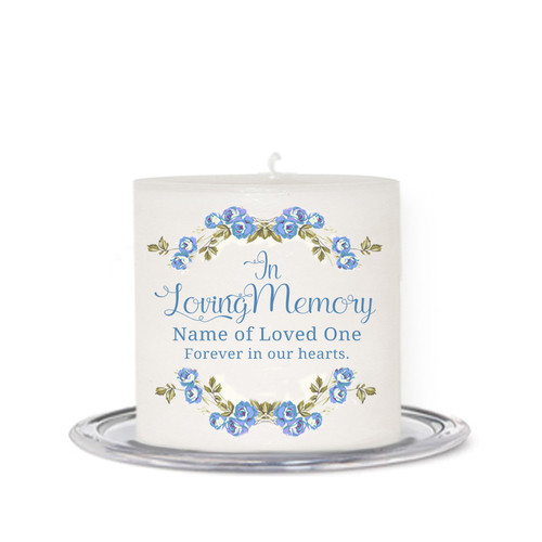 Blue Florals Small Wax Memorial In Loving Memory Candle front
