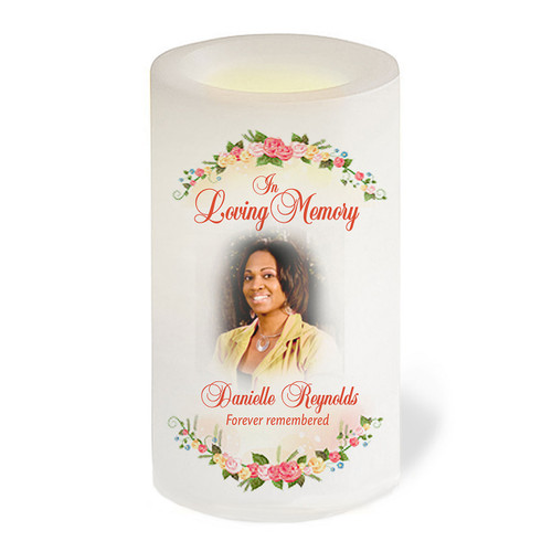 Victoria Flameless LED Personalized Memorial Candle