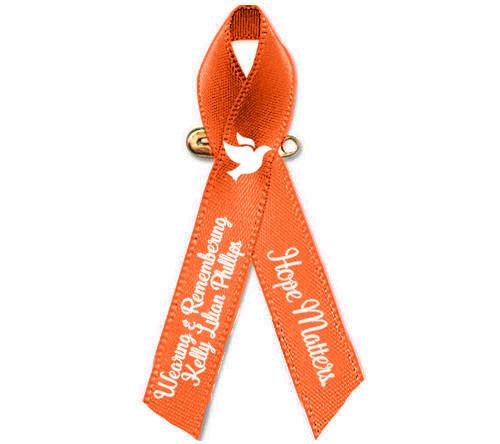 Personalized Leukemia, Kidney Orange Cancer Ribbon