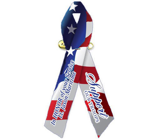 Personalized Patriotic Support Our Troops Ribbon (U.S. Flag) - Pack of 10