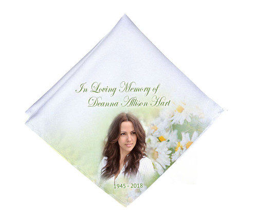 Fresh Daisies Mens or Ladies Memorial Personalized Handkerchief