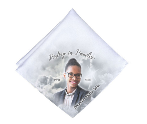 Grayscale Skies Mens or Ladies Memorial Personalized Handkerchief