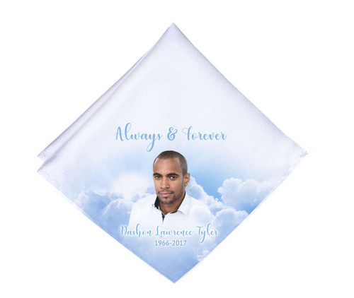 Heavenly Clouds Mens or Ladies Memorial Personalized Handkerchief