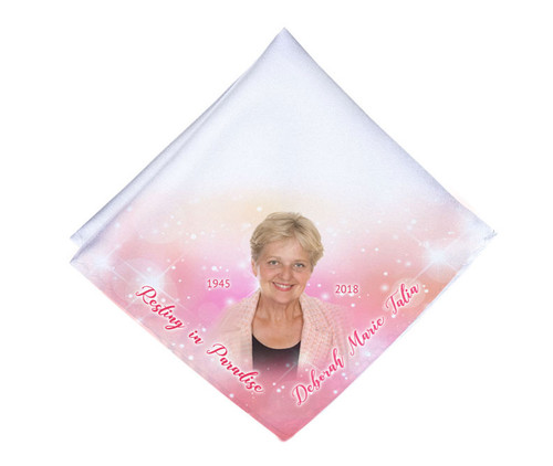Sparkling Pink Mens or Ladies Memorial Personalized Handkerchief