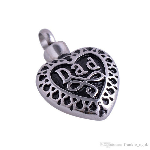 Stainless Steel Dad Heart Urn Pendant Necklace