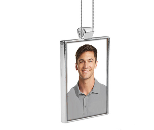 Personalized Rectangle Bezel In Loving Memory Photo Pendant