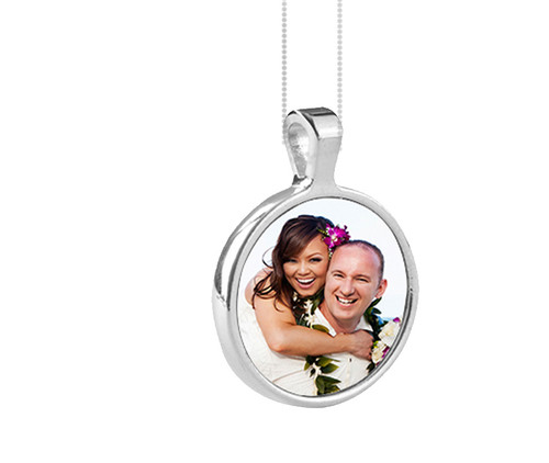 Personalized Small Round Bezel In Loving Memory Photo Pendant