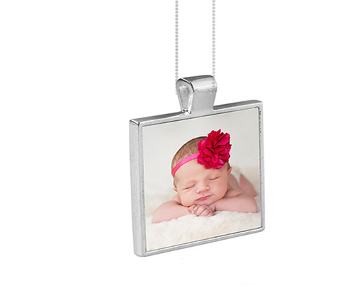 Personalized Square Bezel In Loving Memory Photo Pendant