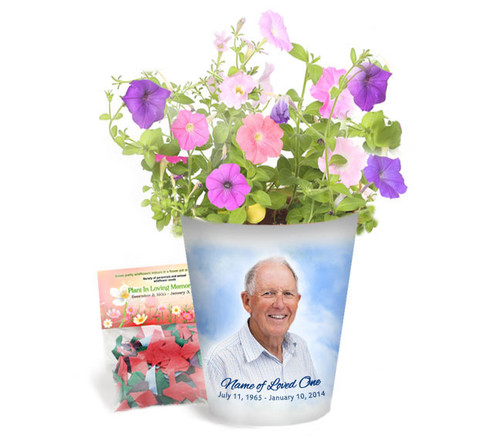 Skies Personalized Memorial Ceramic Flower Pot