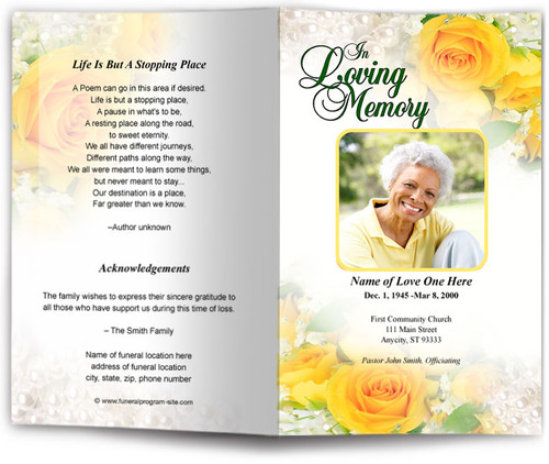joyful yellow funeral program template