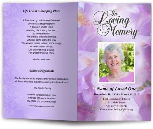 lavender funeral program template