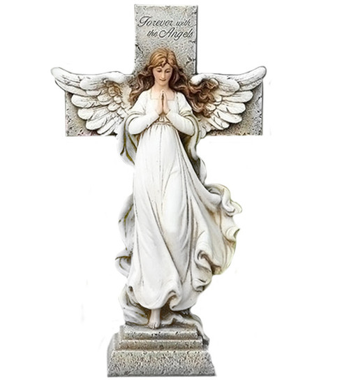Personalized Memorial Angel and Cross Garden Statue