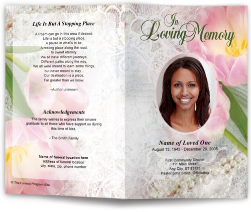 pearls funeral program template