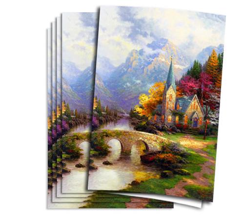 Thomas Kinkade Mountain Chapel Funeral Program Paper