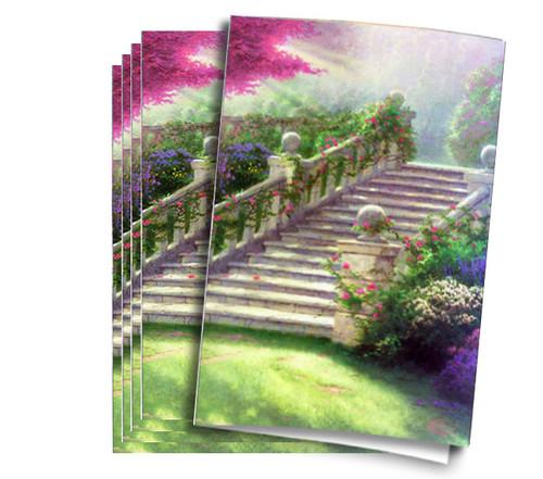 Thomas Kinkade Stairway of Paradise Funeral Program Paper