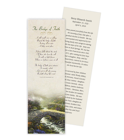 Thomas Kinkade® Bridge of Faith Memorial Bookmark Paper (4 Per Sheet)