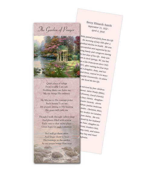 Thomas Kinkade® Garden of Prayer Memorial Bookmark Paper (4 Per Sheet)