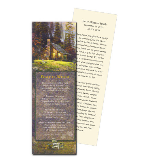 Thomas Kinkade® Peaceful Retreat Memorial Bookmark Paper (4 Per Sheet)