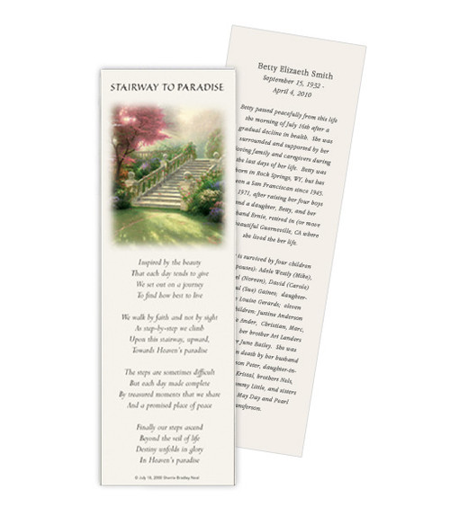 Thomas Kinkade® Stairway of Paradise Memorial Bookmark Paper (4 Per Sheet)